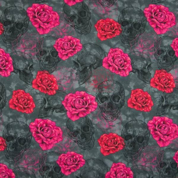 Bilde av Bomullsjersey - 6 cm roser, 9 cm hodeskaller på grå