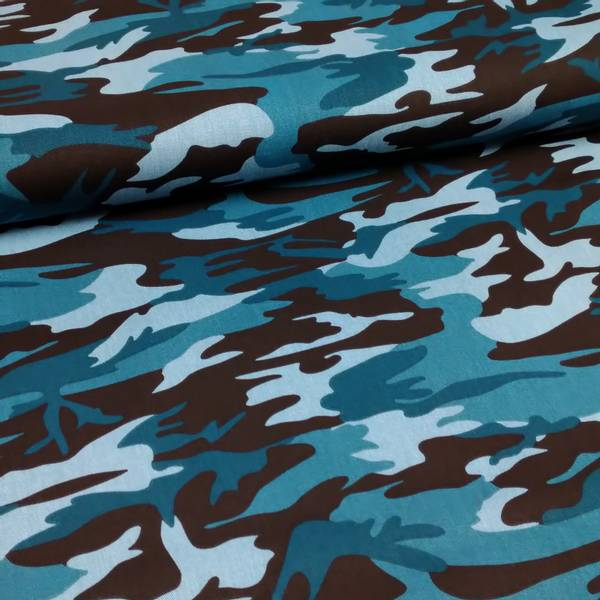 Bilde av Army Twill - camouflage petrol sort, ca 10 cm flekkete