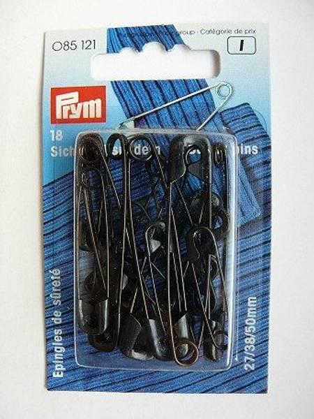 Bilde av Sikkerhetsnåler, sort, 18 st.