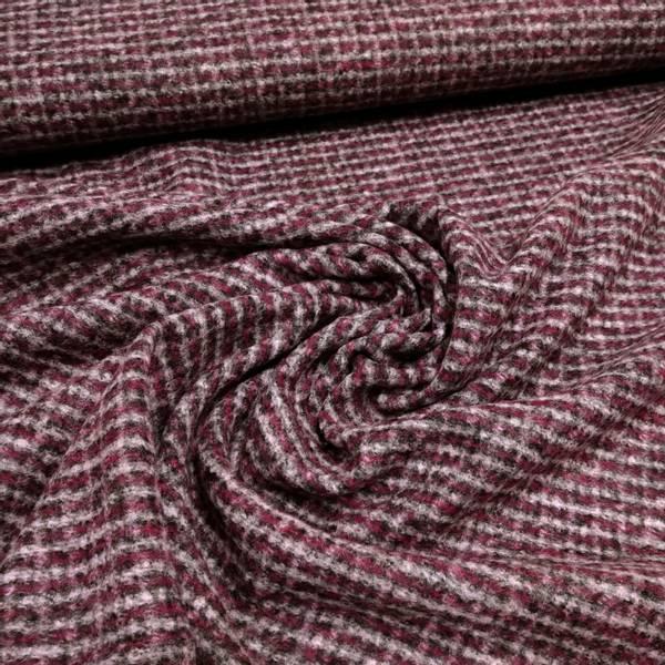 Bilde av Tynn tovet strikket ull m 1 cm rutemønster - rød-grå