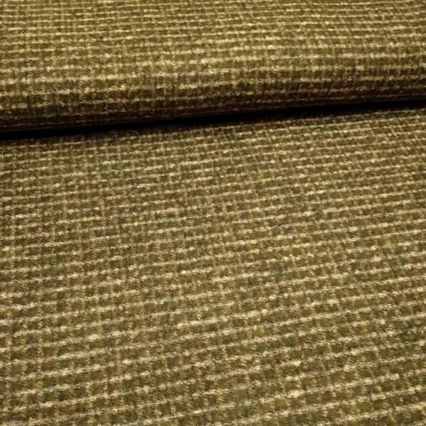 Bilde av 1 m Tynn tovet strikket ull m 1 cm rutemønster - kaki-sand