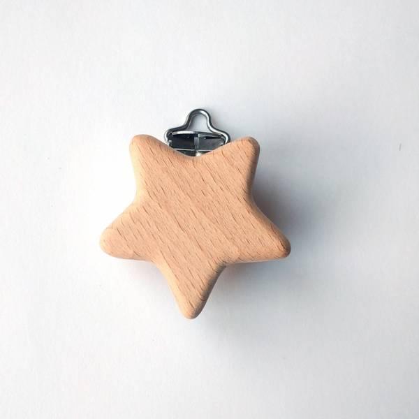 Bilde av Seleklips - stjerne i tre, 4 cm