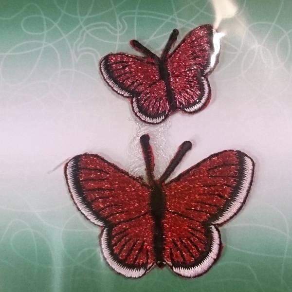 Bilde av Symerke med lim - 2 st sommerfugl rød, 3,5 & 5 cm