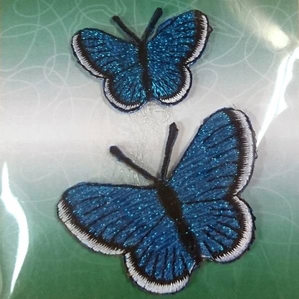Bilde av Symerke med lim - 2 st sommerfugl blå, 3,5 & 5 cm