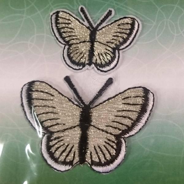 Bilde av Symerke med lim - 2 st sommerfugl sølv, 3,5 & 5 cm