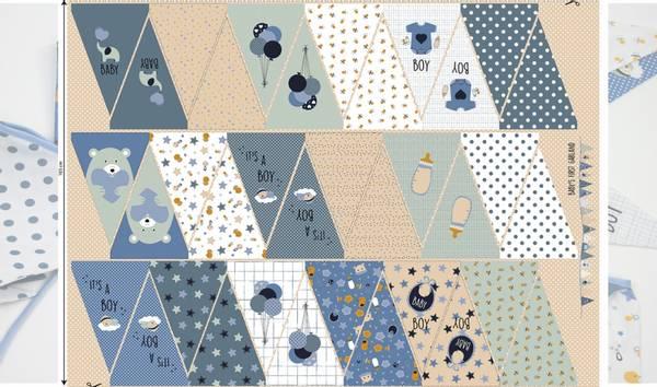 Bilde av Vimpel-panel i bomull  - blå-petrol / gutt