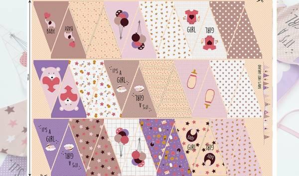 Bilde av Vimpel-panel i bomull  - rosa-lilla / jente