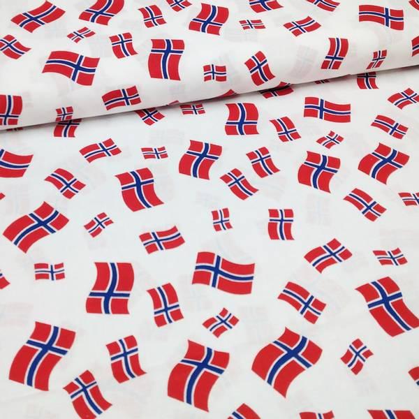 Bilde av Bomull, hvit m 2,5-5 cm norsk flagg