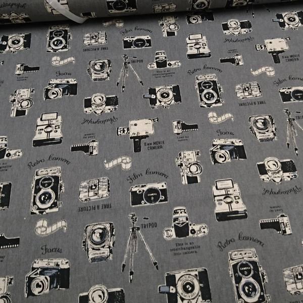 Bilde av 50 cm Cosmo Kanvas  - Smile - 4 cm retro kamera på grå