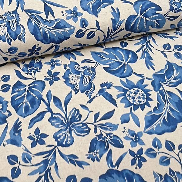 Bilde av 1,6 m Cosmo - Fantasy Flower - 6 cm blå blomst på linfarget