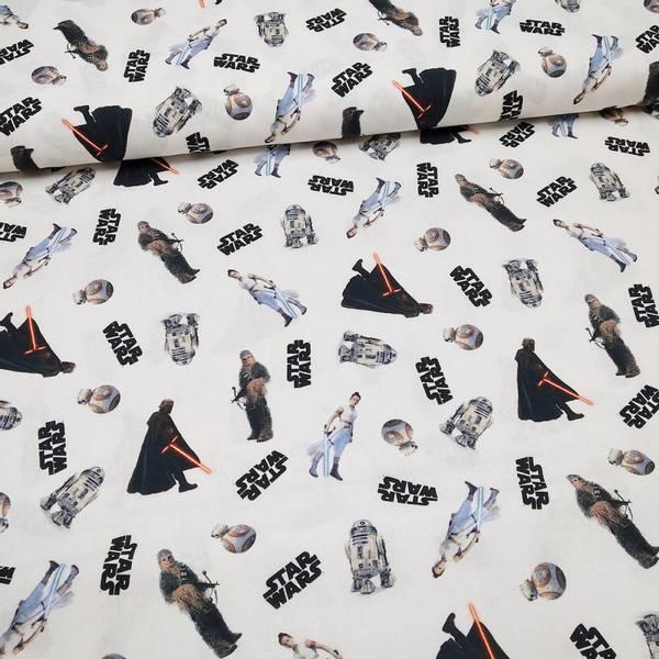 Bilde av Vevd bomull - Star Wars - 2-6 cm motiver på hvit