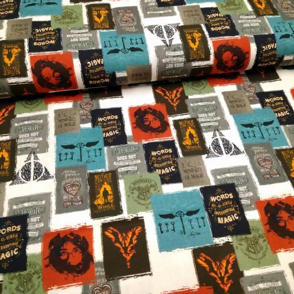 Bilde av Vevd bomull - Harry Potter - 4-6 cm badges på hvit