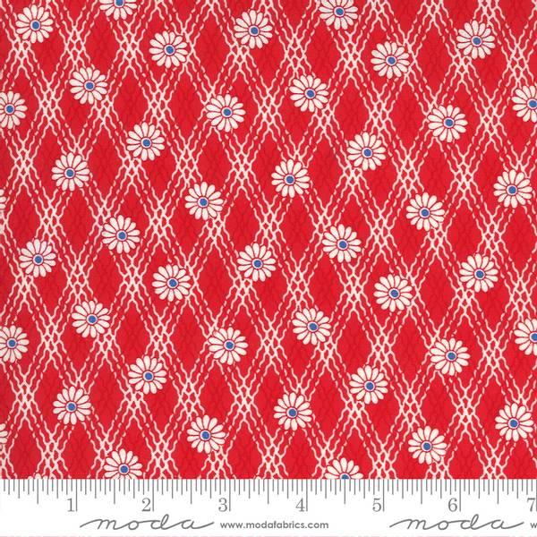 Bilde av 30's Playtime - 15 mm blomster på rød-hvit