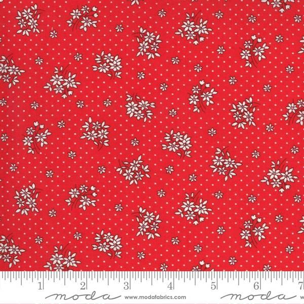 Bilde av 30's Playtime - 2 cm blomster på rød m prikker