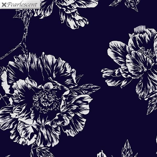Bilde av 45x55 cm  Violet Twilight - 10 cm sølv blomster på mørk marine