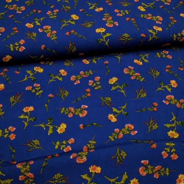 Bilde av Vevd viskose - 4-6 cm blomster på mørkblå