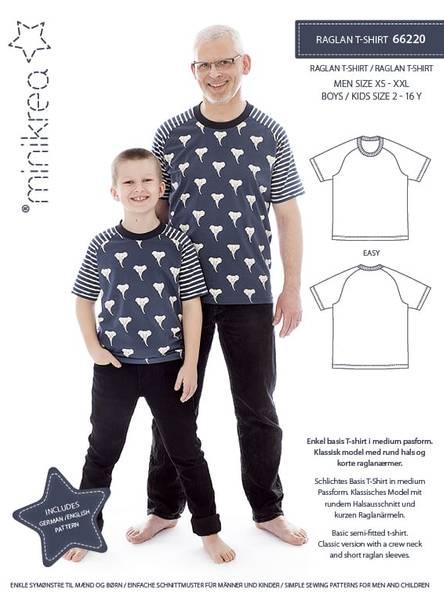 Bilde av Minikrea 66220 - Raglan T-skjorte herre & barn