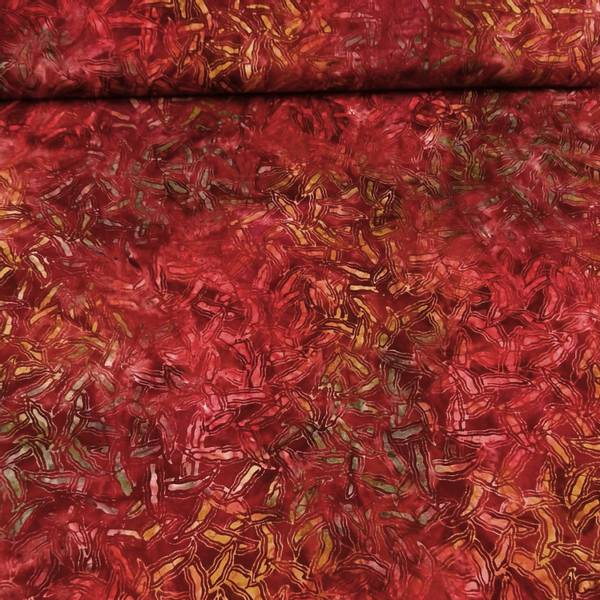 Bilde av Starburst - rødbrun m gul-rød-grønn mønster
