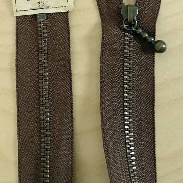 Bilde av Quilter's zipper, glidelås metall - brun, 12