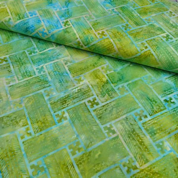Bilde av Batikk - limegrønn-aqua 7 cm rektangel