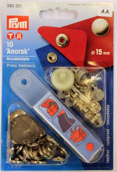 Bilde av Trykknapper - Anorakk - med verktøy - 15 mm - sølv kappe