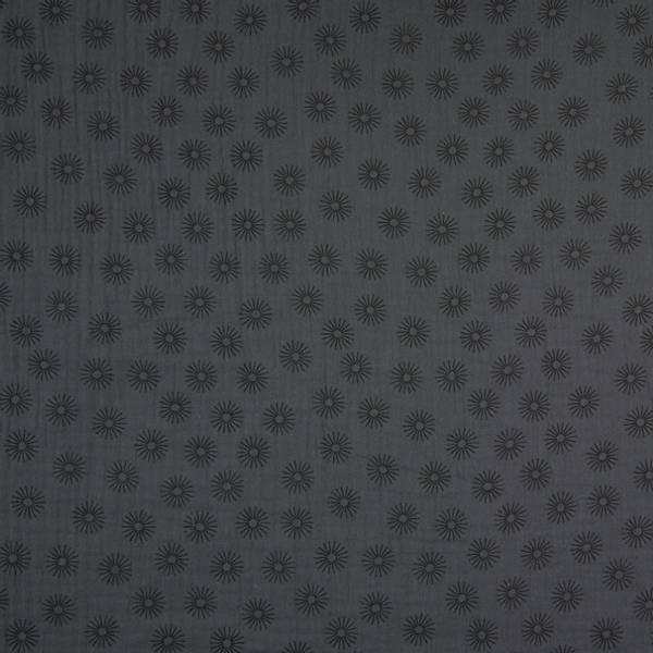 Bilde av Musselin - 2 cm sort sol på mørkgrå