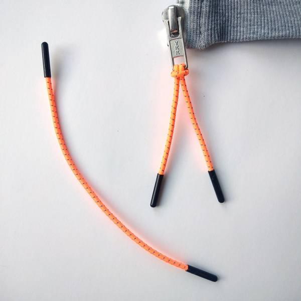Bilde av Glidelås-påheng, rundstrikk - neon oransje