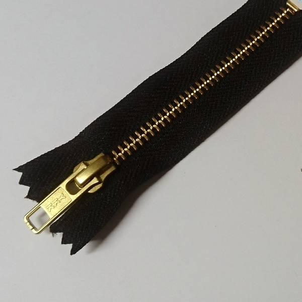 Bilde av Metallglidelås, ikke delbar, 6 mm, sort/gull