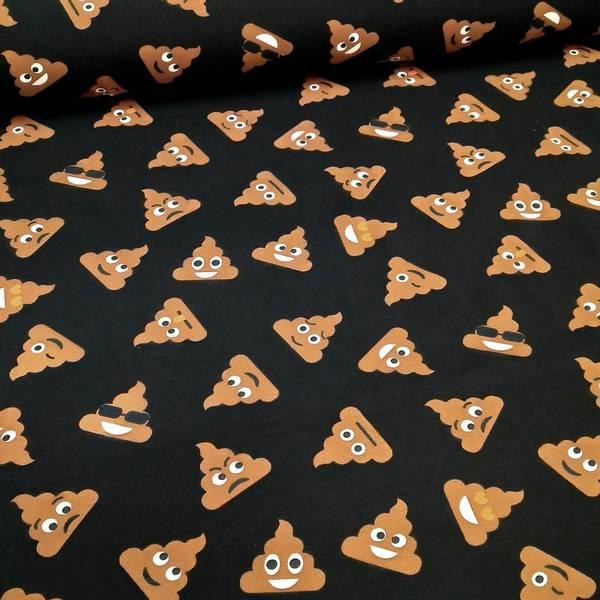 Bilde av Bomullsjersey - 4 cm bæsj emoji på sort