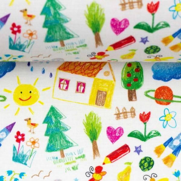 Bilde av Vevd bomull - barnetegninger på hvit