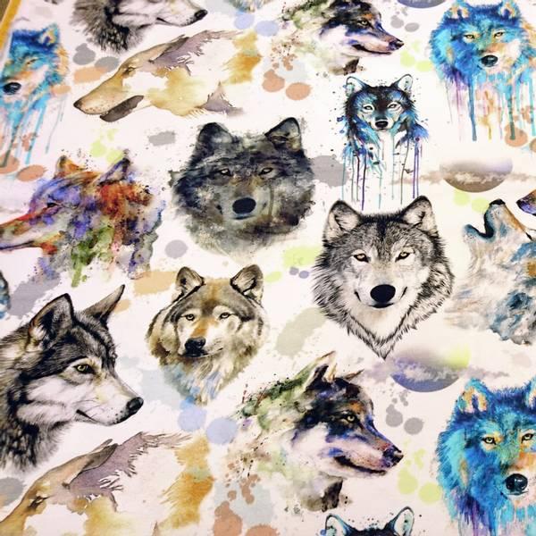 Bilde av Bomullsjersey - 8-12 cm ulvehoder i akvarell