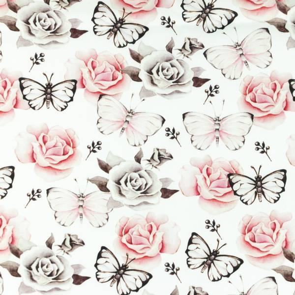 Bilde av Poplin - 4 cm sommerfugl & roser på hvit