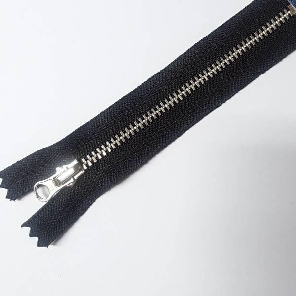 Bilde av Metallglidelås, ikke delbar, 4 mm, sort/ aluminium