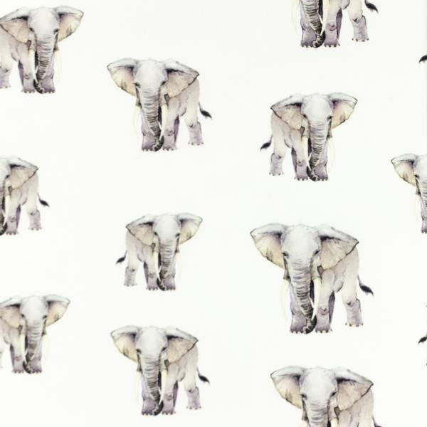 Bilde av Poplin - 3,5-5 cm elefanter på hvit