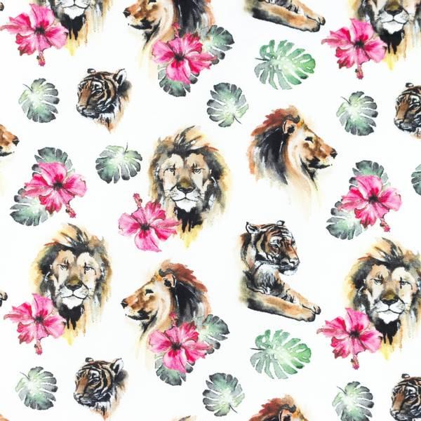 Bilde av Poplin - 3-5 cm løve- & tigerhode på hvit