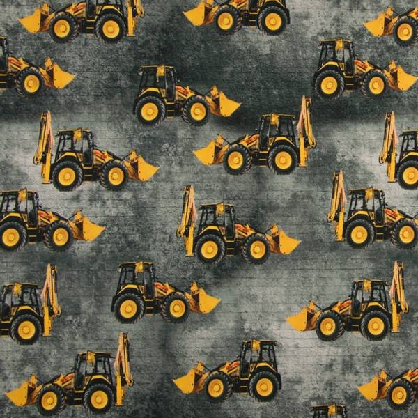 Bilde av Bomullsjersey - 12 cm gravemaskiner på grå