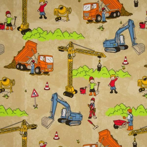 Bilde av Bomullsjersey - 10 cm gravemaskiner, tegning, på sand