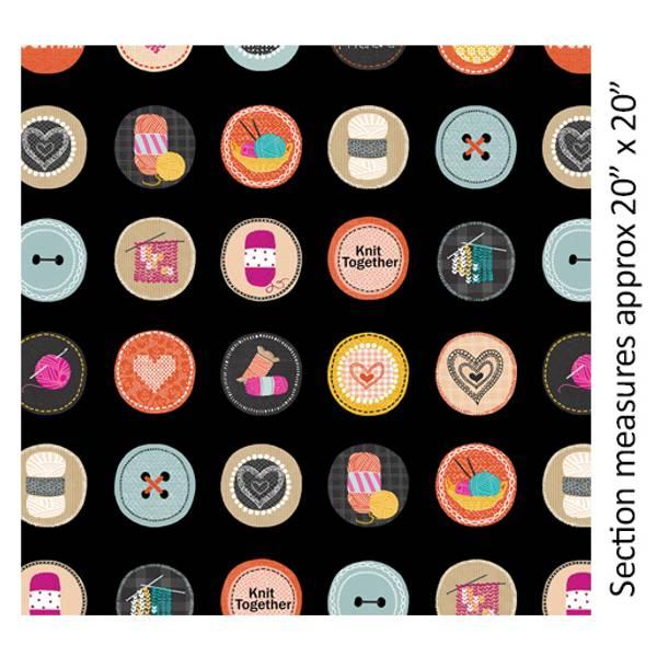 Bilde av Knit Together - 7 cm strikkemotiv på sort