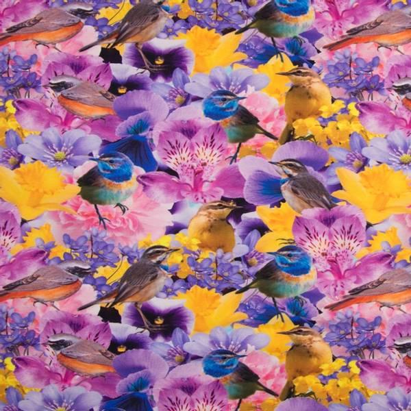 Bilde av Bomullsjersey - ca 10 cm fugl på lilla blomster