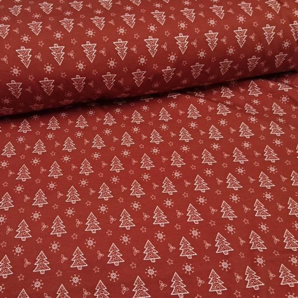 Bilde av Bomullsjersey - 25 mm hvite juletrær på mørk rød