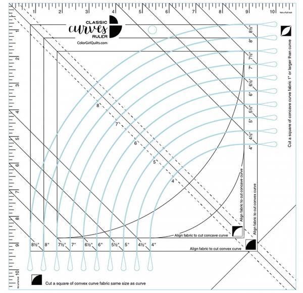 Bilde av Classic Curves Ruler - linjal til sirkelblokker