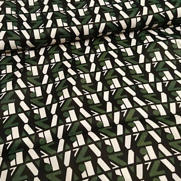 Bilde av Polyestersateng - 2,5 cm grønn-sort-offwhite mønster
