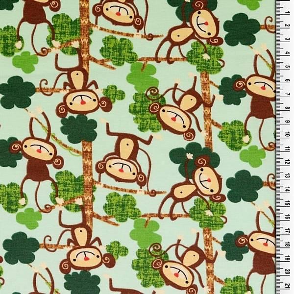 Bilde av Bomullsjersey - 6 cm aper på mintgrønn