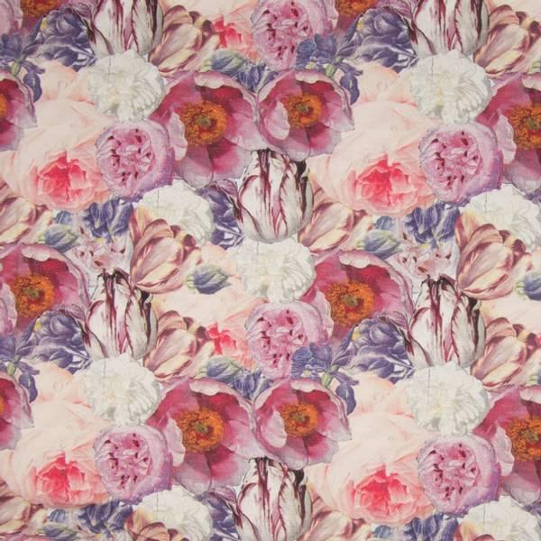 Bilde av Bomullsjersey - 6 cm romantiske blomsterhoder