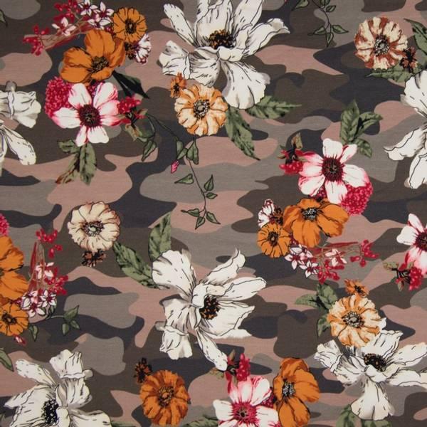 Bilde av Bomullsjersey - 4-10 cm blomster på brun camouflage