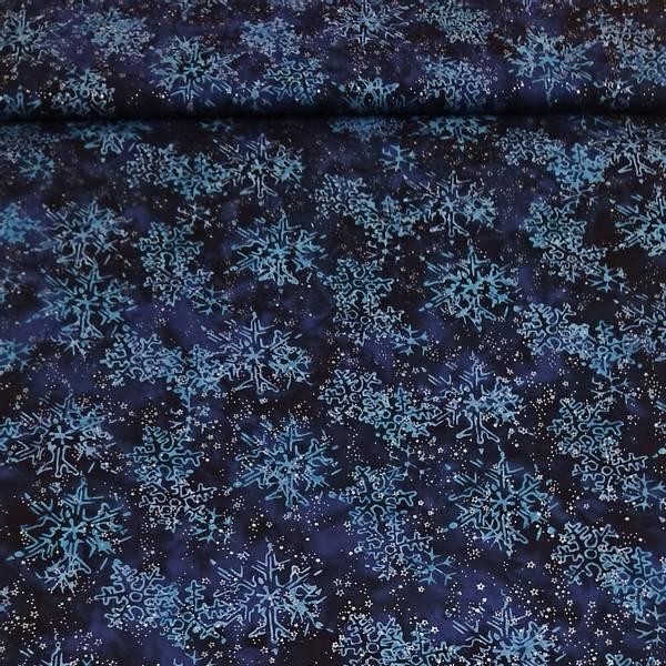 Bilde av Batikk - 7 cm snøfnugg på blå m sølv små stjerner