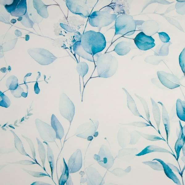 Bilde av French Terry - blå stormønstret akvarellblader på hvit