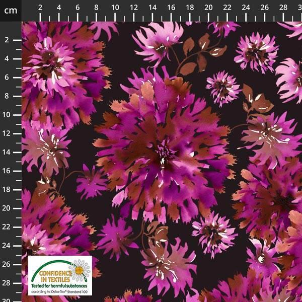 Bilde av Avalana bomullsjersey - 6-16 cm pink blomst på sort