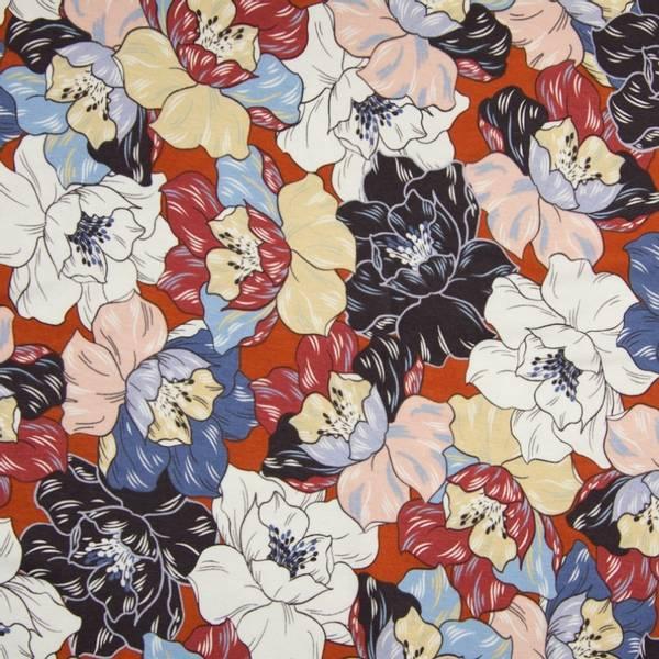Bilde av Viskosejersey - 10 cm blomsterhoder på terracotta