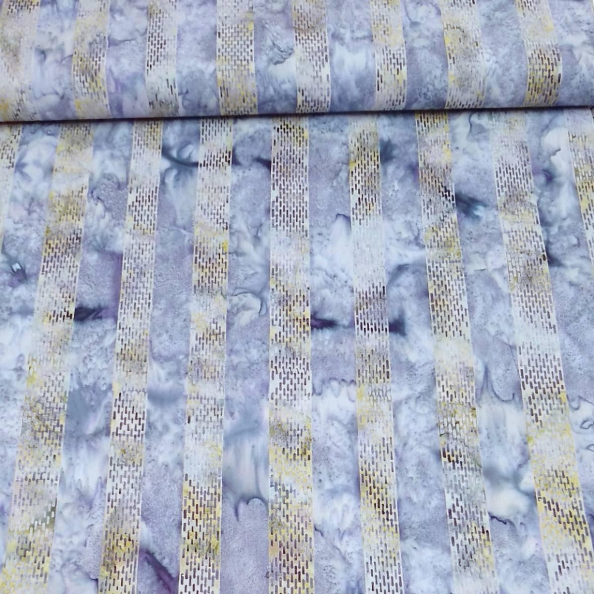 Batikk - 3 ,5 cm striper - lys lime/lys lilla